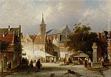Charles Henri Joseph Leickert - A Busy Market in a Dutch Town