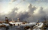 Charles Henri Joseph Leickert - A Frozen Winter Landscape With Skaters
