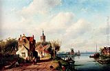 Charles Henri Joseph Leickert - A Village Along A River, A Town In The Distance
