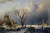 Charles Henri Joseph Leickert - A Winter Landscape with Figures near a Castle