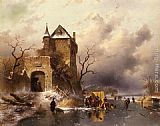 Castle Wall Art - Skaters on a Frozen Lake by the Ruins of a Castle