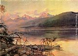 Famous Lake Paintings - Deer at Lake McDonald