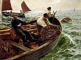 Charles Napier Hemy Lands End Crabbers painting
