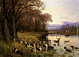 Famous Bay Paintings - A Stag At Bay
