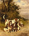 Charles Olivier De Penne - Hunting Dogs on a Forest Path