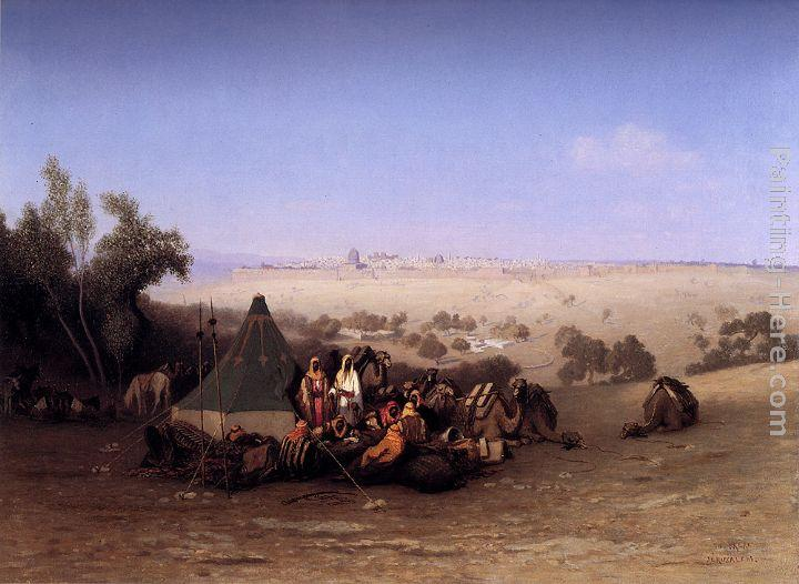 Charles Theodore Frere An Rab Encampment On The Mount Of Olives With Jerusalem Beyond