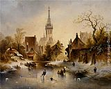 Charles van den Eycken - A Winter Landscape with Skaters near a Village