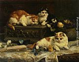 Charles van den Eycken The Three Kittens painting