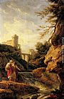 Claude-Joseph Vernet - Two female peasants by a waterfall, a town and aqueduct beyond