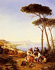 Bay Wall Art - A Group Of Peasants With The Bay Of Naples Beyond