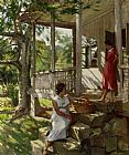 vera Canvas Paintings - On The Veranda