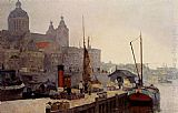 Cornelis Vreedenburgh - A View Of Amsterdam With The St. Nicolaas Church