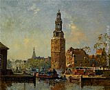 Cornelis Vreedenburgh - A view of the Montelbaanstoren Amsterdam