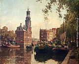 Cornelis Vreedenburgh - The Flowermarket On The Singel, Amsterdam, With The Munttoren Beyond