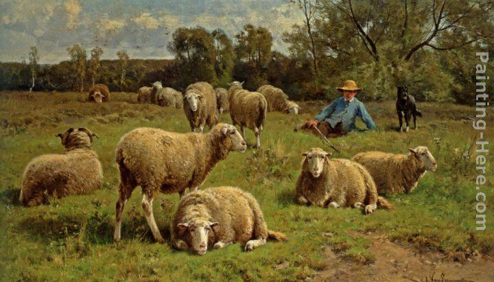 Cornelis van Leemputten A Shepherd and His Dog Guarding a Flock of Sheep