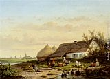 Cornelis van Leemputten Farmyard with Chicken and Ducks painting