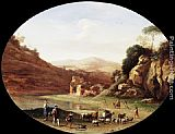 Valley Wall Art - Valley with Ruins and Figures