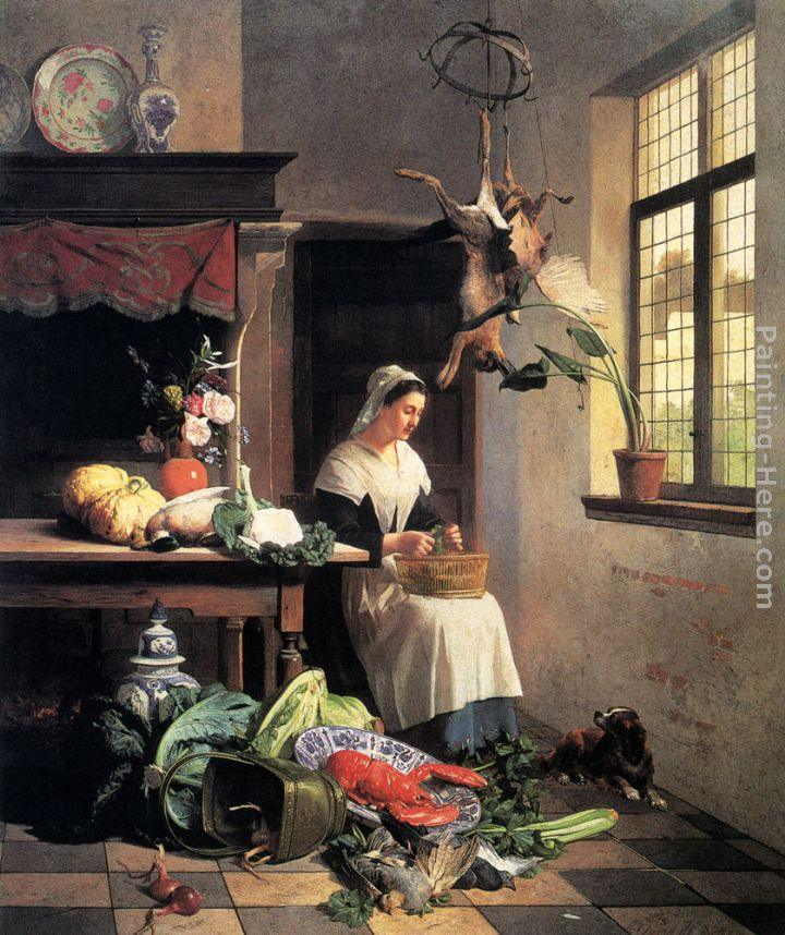david emile joseph de noter a maid in the kitchen painting