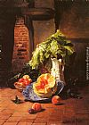 David Emile Joseph de Noter - A Still Life With A White Porcelain Pitcher, Fruit And Vegetables