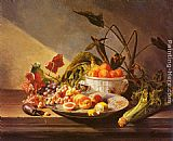 David Emile Joseph de Noter - A Still Life With Fruit And Vegetables On A Table