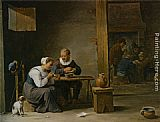 David the Younger Teniers - A man and woman smoking a pipe seated in an interior with peasants playing cards on a table