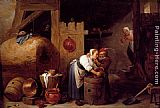 David the Younger Teniers - An Interior Scene With A Young Woman Scrubbing Pots While An Old Man Makes Advances