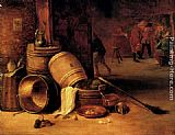 David the Younger Teniers - An interior scene with pots, barrels, baskets, onions and cabbages with boors carousing in the background