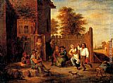 David the Younger Teniers - Peasants merrying outside an inn