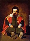 Diego Rodriguez De Silva Velazquez Canvas Paintings - A Dwarf Sitting on the Floor