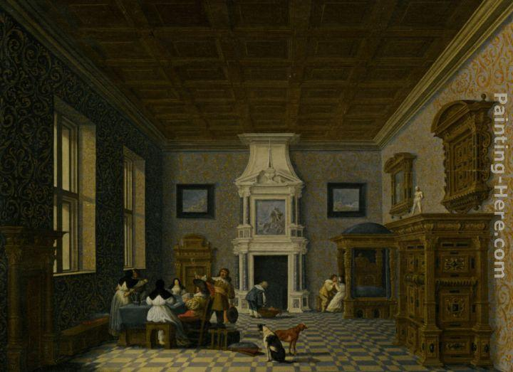 Dirck van Delen A Palace Interior with Cavaliers Cavorting with Nuns