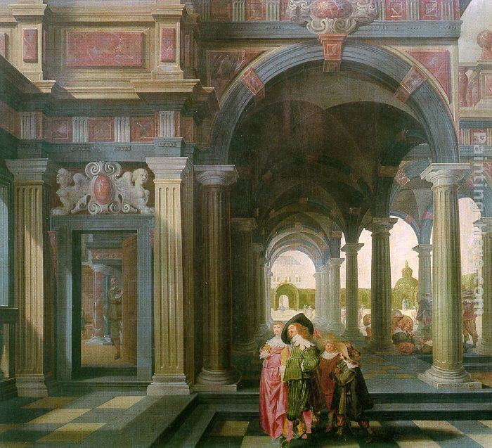 Dirck van Delen Palace Courtyard with Figures