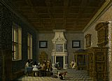 Dirck van Delen - A Palace Interior with Cavaliers Cavorting with Nuns