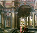 Dirck van Delen - Palace Courtyard with Figures