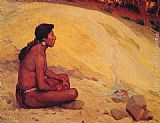 Eanger Irving Couse - Indian Seated by a Campfire