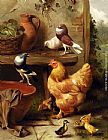 Edgar Hunt - A Chicken, Doves, Pigeons And Ducklings