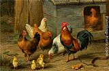 Edgar Hunt - A Cockerel with Chickens