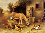 Edgar Hunt - A Donkey and Chickens Outside a Stable