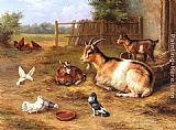 Edgar Hunt - A Farmyard Scene with goats, chickens, doves