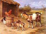 Edgar Hunt - A Farmyard scene with goats and chickens