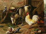 Edgar Hunt - A Goat Chicken and Doves in a Stable