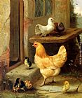 Edgar Hunt - A Hen, Chicks And Pigeons