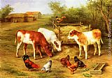 Edgar Hunt - Calves and Chickens feeding in a Farmyard
