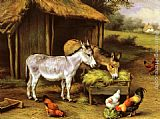 Edgar Hunt - Chickens and Donkeys feeding outside a Barn