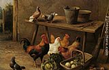 Edgar Hunt - Chickens and Pigeons in a Farmyard
