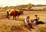 Edouard Bernard Debat-Ponsan - Rest In The Fields
