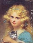 Edouard Cabane Portrait of a young girl holding a kitten painting