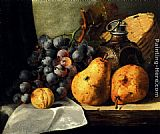 Edward Ladell Pears, Grapes, A Greengage, Plums A Stoneware Flask And A Wicker Basket On A Wooden Ledge painting