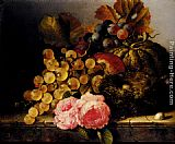 roses Wall Art - Still Life With A Birds Nest, Roses, A Melon And Grapes