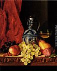 Table Wall Art - Still Life With Grapes, A Peach, Plums And A Pear On A Table With A Wine Glass And A Flask