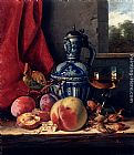 Edward Ladell - Still Life with Peaches, Whitecurrants, Hazelnuts, a Glass and a Stoneware Jug on a wooden Ledge with a Landscape beyond